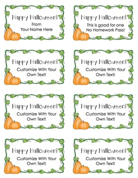 Happy Halloween Customizable Pass (Color and B&W!)