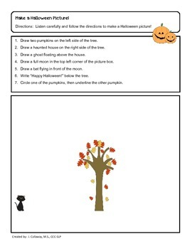 Happy Halloween ~ Following Directions and Conceptual Terms!