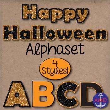 Happy Halloween Glitter, Black & Orange Digital Alphabet Clip Art Mega Pack