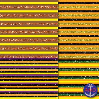 Happy Halloween Glitter (Fall Colors) Chevron, Polka Dot & Striped Paper Pack