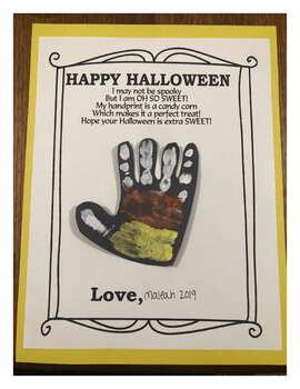 Happy Halloween HandPrint Foot Print art activity craft pumpkin poem gift
