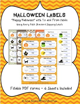 halloween labels tags fillable pdf with to and from fields by