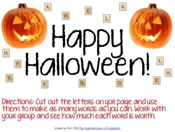 Happy Halloween-Making Words Activity PDF Printable