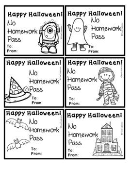 Happy Halloween No Homework Pass Freebie