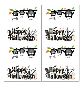 Happy Halloween Owl Treat Bag Label