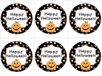 Happy Halloween Pumpkin Treat Tags