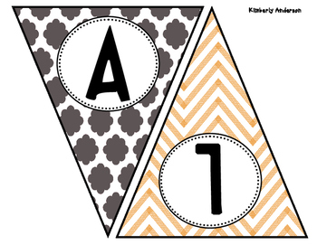Happy Halloween Quatrefoil and Chevron Banner / Pennant