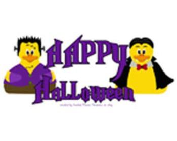 Happy Halloween Rubber Halloween Dukies Word Art