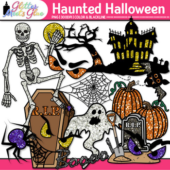 Halloween Clip Art Bundle {Pumpkins, Witch, Ghost, Frankenstein, Haunted House}
