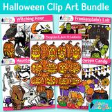 Halloween Clip Art Bundle  Pumpkins, Witch, Ghost, Franken