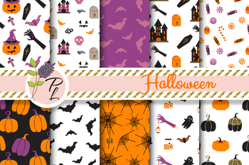 Happy Halloween Seamless Pattern Set. Digital paper pack.