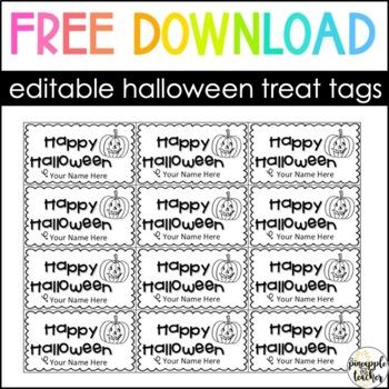 Happy Halloween Tags (EDITABLE)