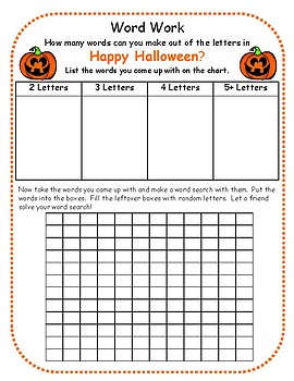 Halloween Making Words and Extension Word Search Activity