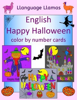 Halloween color by number cards for elementary students or EFL ESL EAL