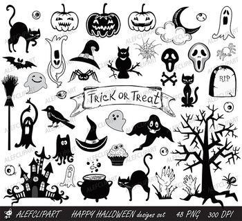 Happy Halloween designs set black and white elements.