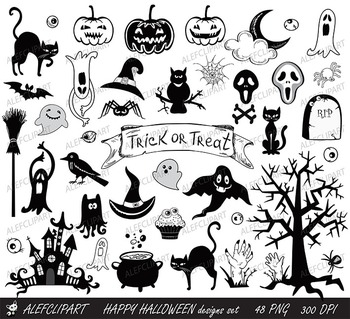 Happy Halloween designs set black and white elements.