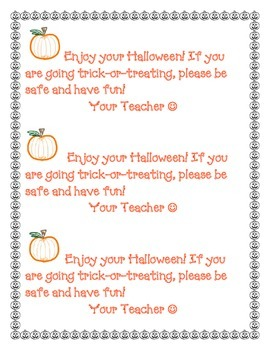 Happy Halloween note to students