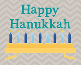 Happy Hanukkah Poster, Class Decor, Holiday Sign, Bulletin Board