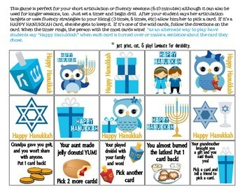 Quick Drill Happy Hanukkah {for speech therapy or any skill drill}