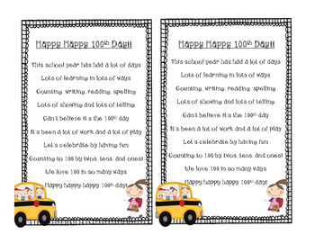 Happy Happy 100th Day! Poem and Task Cards