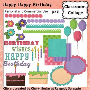 Happy Happy Birthday clip art - Color - personal & commercial use balloons cake