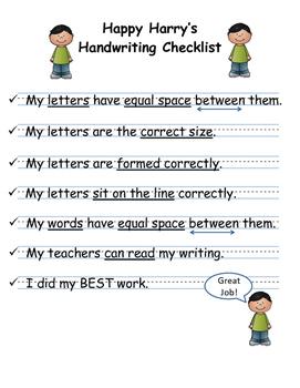 Happy Harry's Handwriting Checklist