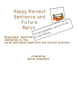 Happy Harvest Sentence and Picture Match