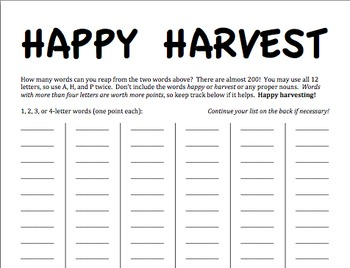 Happy Harvest Word Game
