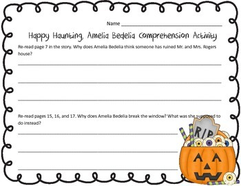 Happy Haunting Amelia Bedelia Comprehension Questions