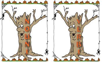 Halloween Noun and Verb Sorting Literacy Center