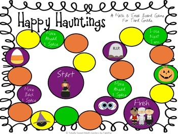 Happy Hauntings- A Math and Halloween Trivia Board Game! Gr 3 QR EDITION!