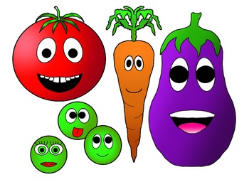 Happy Healthy Vegetables Clipart Freebie