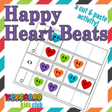 Valentine's Day Note Value Activity Worksheet Cut Paste Happy Heart Beats