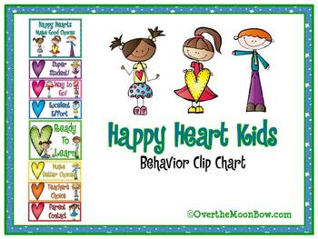 Happy Heart Kids Themed Behavior Clip Chart