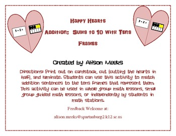 Happy Hearts Addition: Matching Sums to 10 Using Tens Frames