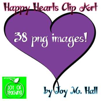 Happy Hearts Clip Art for Valentine's Day {Bright Colors} 38 png Images