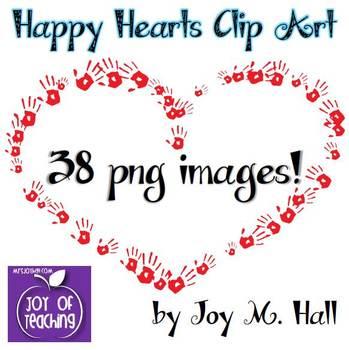 Happy Hearts Clip Art for Valentine's Day {Bright Colors}