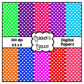 Happy Hearts Digital Background Papers {8.5 x 11} Clip Art CU OK