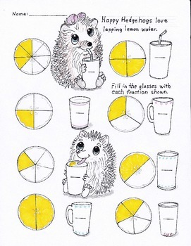 Happy Hedgehogs Fractions color the lemon slices and Memory Game K-2nd grades