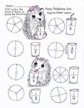 happy hedgehogs easy fractions worksheet for knd grade  tpt