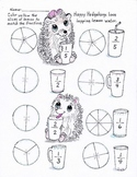 Happy Hedgehogs easy fractions worksheet for K-2nd grade