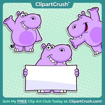 Royalty Free Happy Hippo Clipart Character! 3 poses, 6 files! - Enjoy!