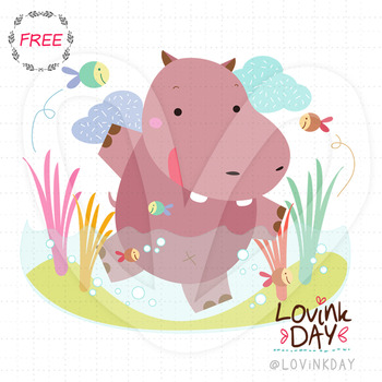 Happy Hippo - FREE clip art