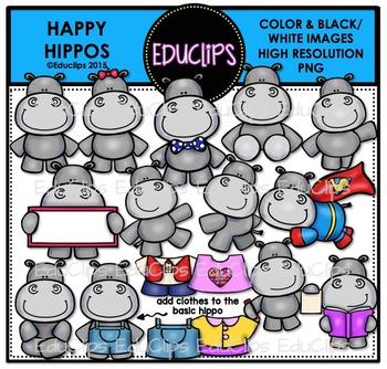 Happy Hippos Clip Art Bundle (Color and B&W) {Educlips Clipart}