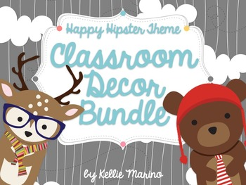 Happy Hipster Critters Classroom Decor BUNDLE