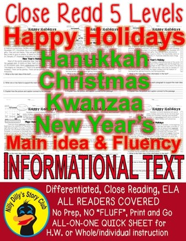 Happy Holiday FACTS: Kwanzaa Christmas Hanukkah New Year's Close Read 5 levels