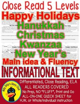 Happy Holidays Kwanzaa Christmas Hanukkah New Year CLOSE READ 5 LEVEL PASSAGES!