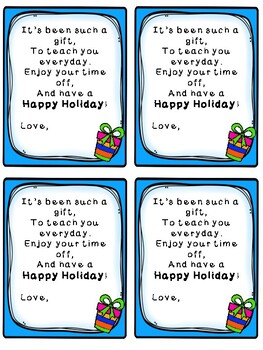 Happy Holiday! Student Gift Tags