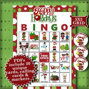 Happy Holidays 5x5 Bingo 30 Cards
