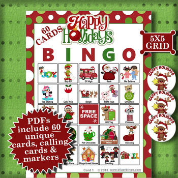 Happy Holidays 5x5 Bingo 60 Cards